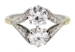 Early-mid 20th century two stone diamond ring