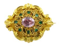 Victorian 18ct gold emerald and pink/purple stone set brooch