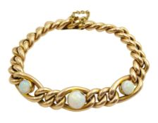 Early 20th century 15ct gold gold curb bracelet set with three cabochon round opals