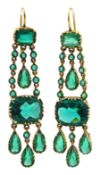 Pair of late 19th/early 20th century green paste pendant earrings
