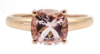 9ct gold single stone morganite ring