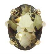 Gold oval smokey quartz ring