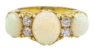 Early 20th century opal and diamond ring