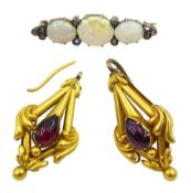 Pair of Victorian gold pear shaped cabochon garnet pendant earrings and a opal and diamond bar brooc