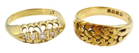 Victorian 18ct gold graduating five stone diamond ring and an Edwardian 18ct gold weave design ring