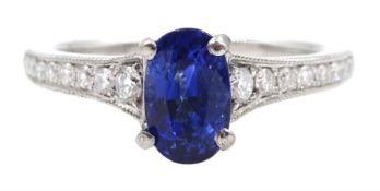 Platinum oval sapphire ring