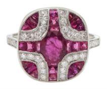 Platinum vari-cut ruby and diamond pave set oval ring