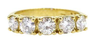 18ct gold five stone round brilliant cut diamond ring