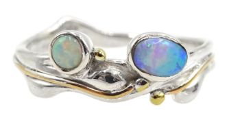 Silver and 14ct gold wire opal ring