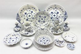 A collection of assorted Royal Copenhagen blue fluted lace tablewares comprising a pierced fruit bas