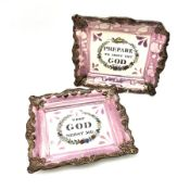 Two 19th century Sunderland pink lustre wall plaques
