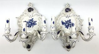 A pair of German Echt Kobalt blue and white wall sconces