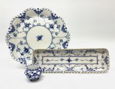 Three pieces of Royal Copenhagen blue fluted lace