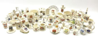 Collection of W.H. Goss crested ware including Oriel vase