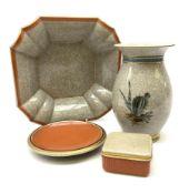 Four pieces of crackle glaze Royal Copenhagen