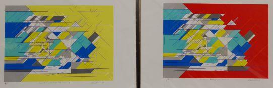 Geoffrey Harrop (British 1947-): 'Linear Form III & V' and 'Sunshine Through the Rain II & III'
