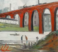 Walker Scott (Northern British Contemporary): Wading Beneath the Viaduct