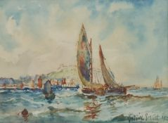 Austin Smith (British early 20th century): Leaving Scarborough Harbour