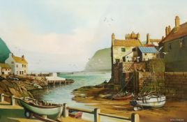 D J Strickland (British 20th century): Staithes from Cowbar Bank