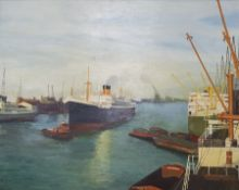 DB Christian (20th century): SS Athenic in a Busy Harbour