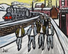 Phil Lewis (Northern British Contemporary): 'Miners Returning Home from Work at the Pit'