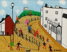 Barry Stokes (Northern British Contemporary): 'Abbey Steps Tearooms' Whitby