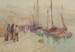 Frank Rousse (British fl.1897-1917): Whitby Quayside