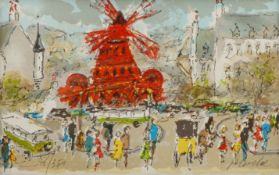 Urbain Huchet (French 1930-): 'Le Moulin Rouge'