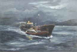 Harry Berry (British 1905-1994): Leith Trawler 'Netta Croan' Aided by the Aberdeen Lifeboat