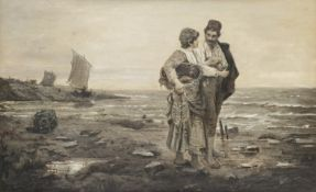English School (19th century): Fishergirl and Courtier in a Coastal Landscape