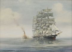 Roderick Lovesey (British 1944-2002): Clipper in Full Sail followed by a Steam Tug