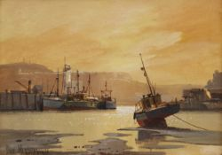 Don Micklethwaite (British 1936-): Sunset Scarborough Harbour