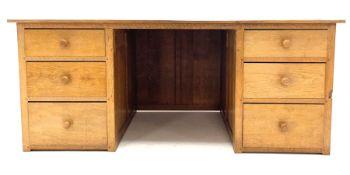 'Gnomeman' oak twin pedestal desk