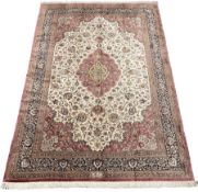 Finely knotted Persian Qom silk rug