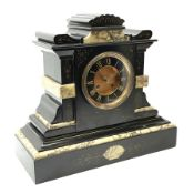 Victorian black slate and marble mantel clock