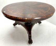 Early 19th century inlaid figured mahogany circular breakfast table