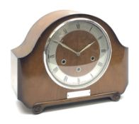 Early to mid 20th century Art Deco style walnut mantel clock by 'Smiths'