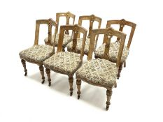 Set six late Victorian oak spoon back dining chairs