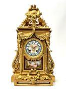 Late 19th century gilt metal mantel clock