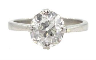 Platinum single stone old cut diamond ring