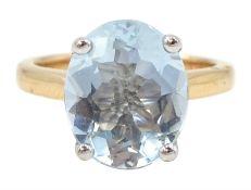 18ct rose gold single stone oval aquamarine ring