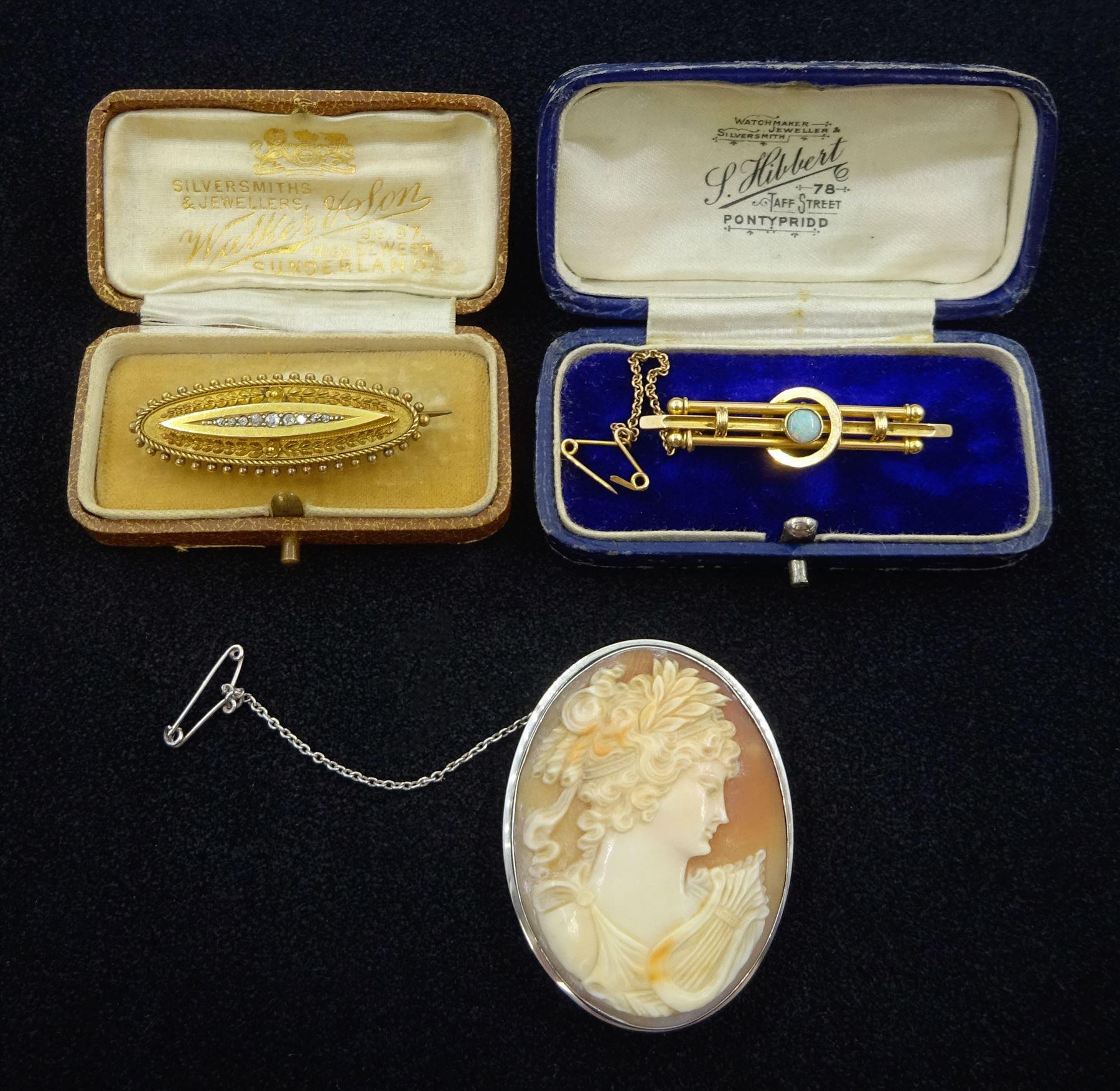 Victorian 15ct gold diamond set brooch Birmingham 1896