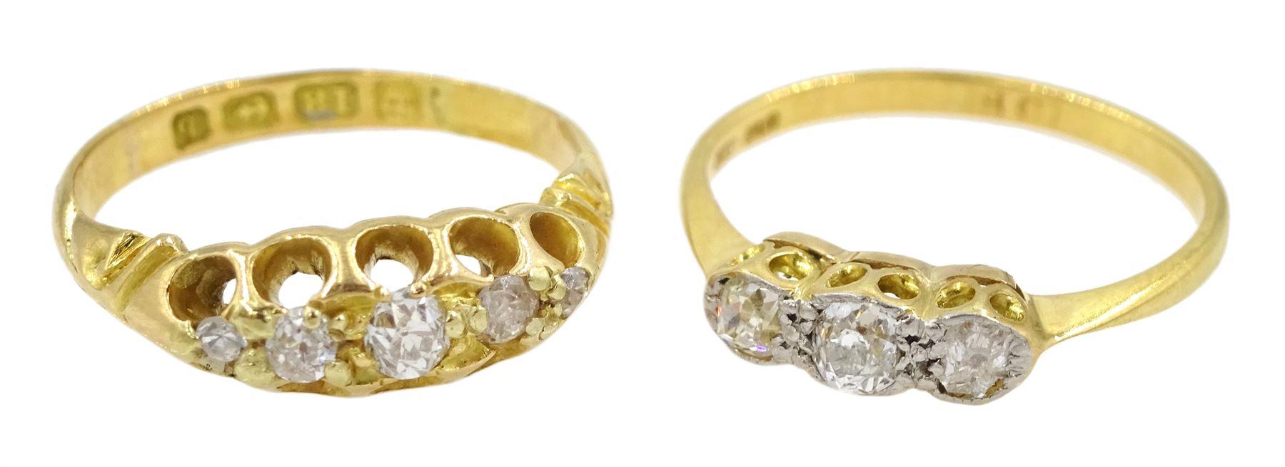 14ct gold old cut diamond three stone ring