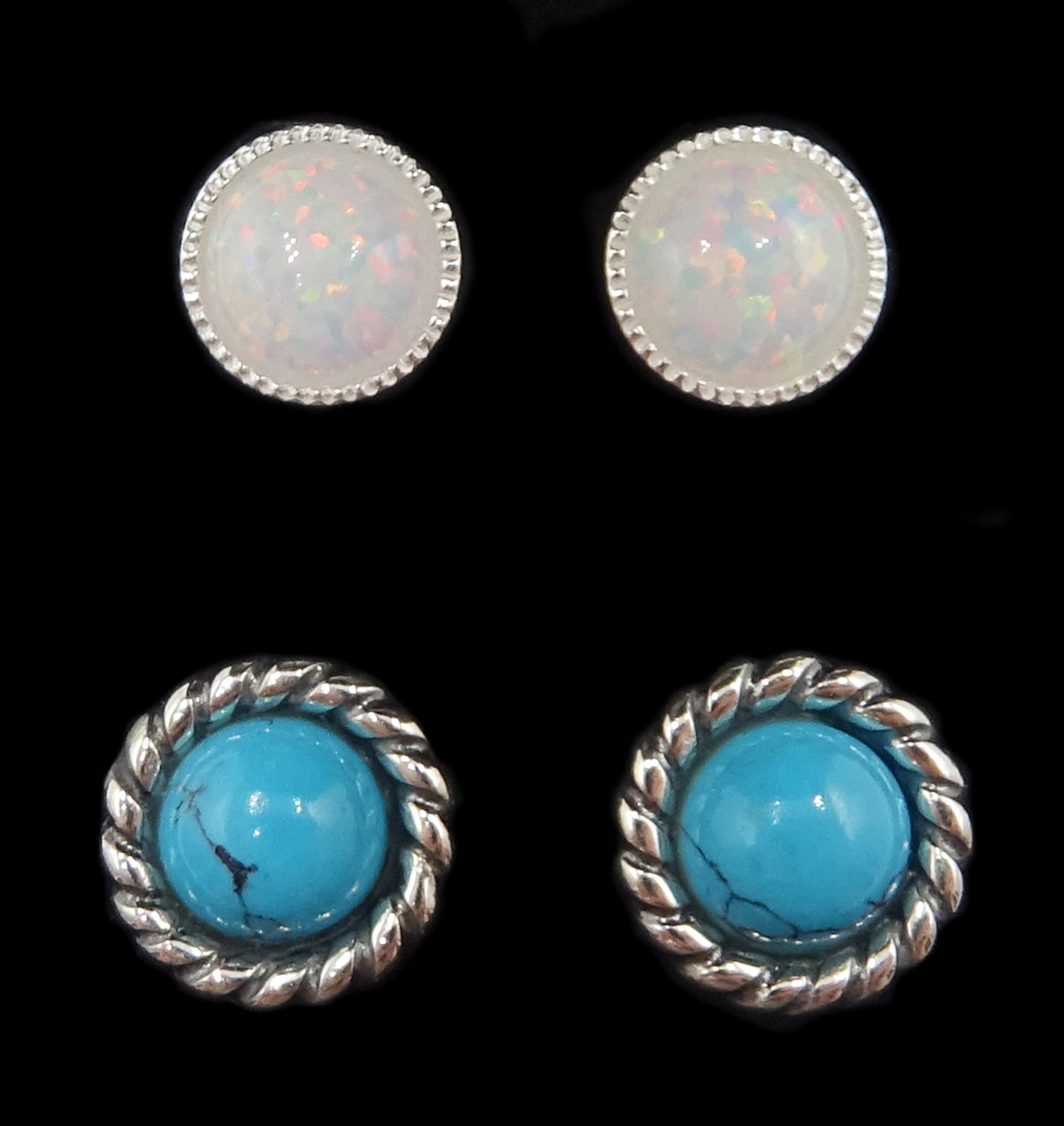Pair of silver turquoise stud earrings and one other pair of silver opal stud earrings