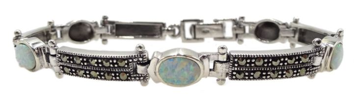 Silver opal and marcasite bracelet