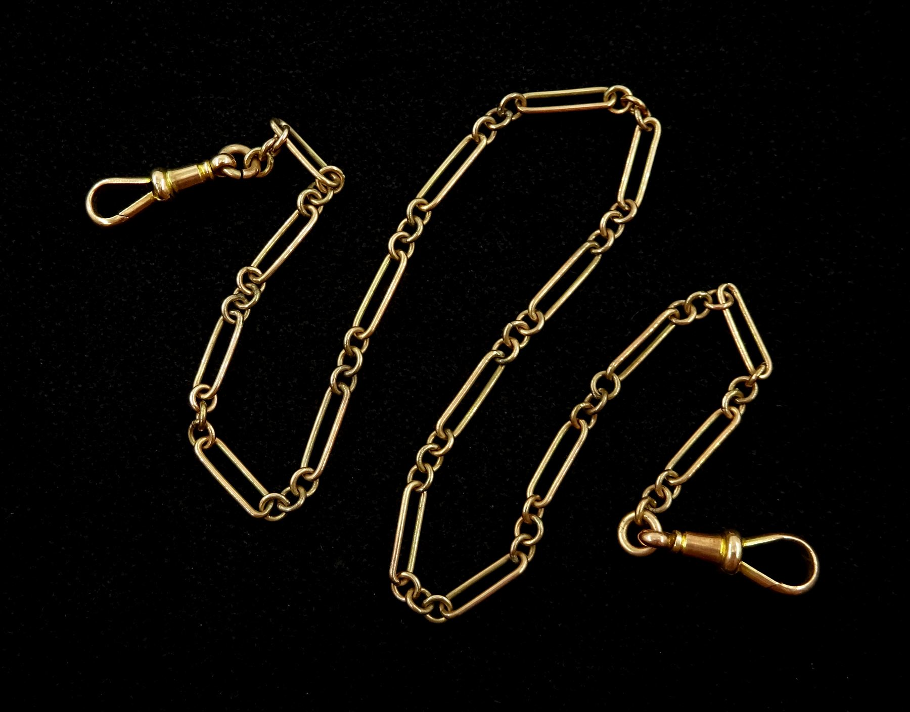 Early 20th century rose gold rectangular link watch chain