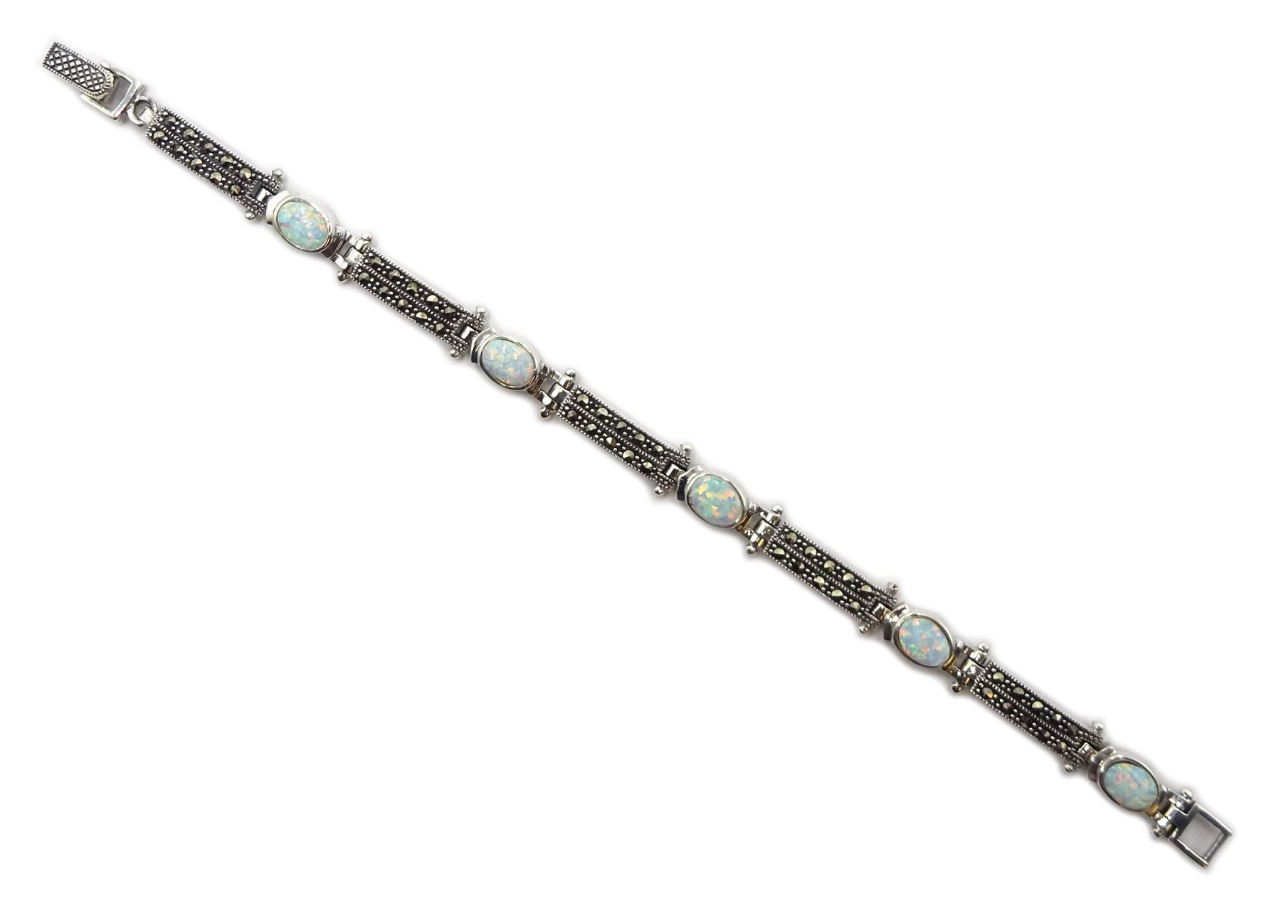 Silver opal and marcasite bracelet - Image 2 of 3