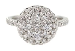 18ct white gold round brilliant cut diamond halo cluster ring by Rox
