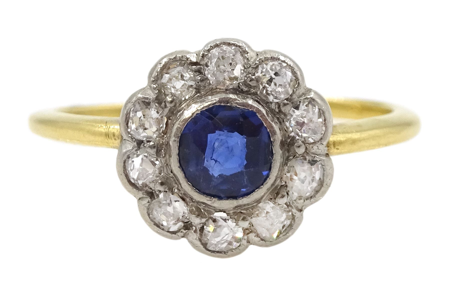 18ct gold round sapphire and old cut diamond cluster ring