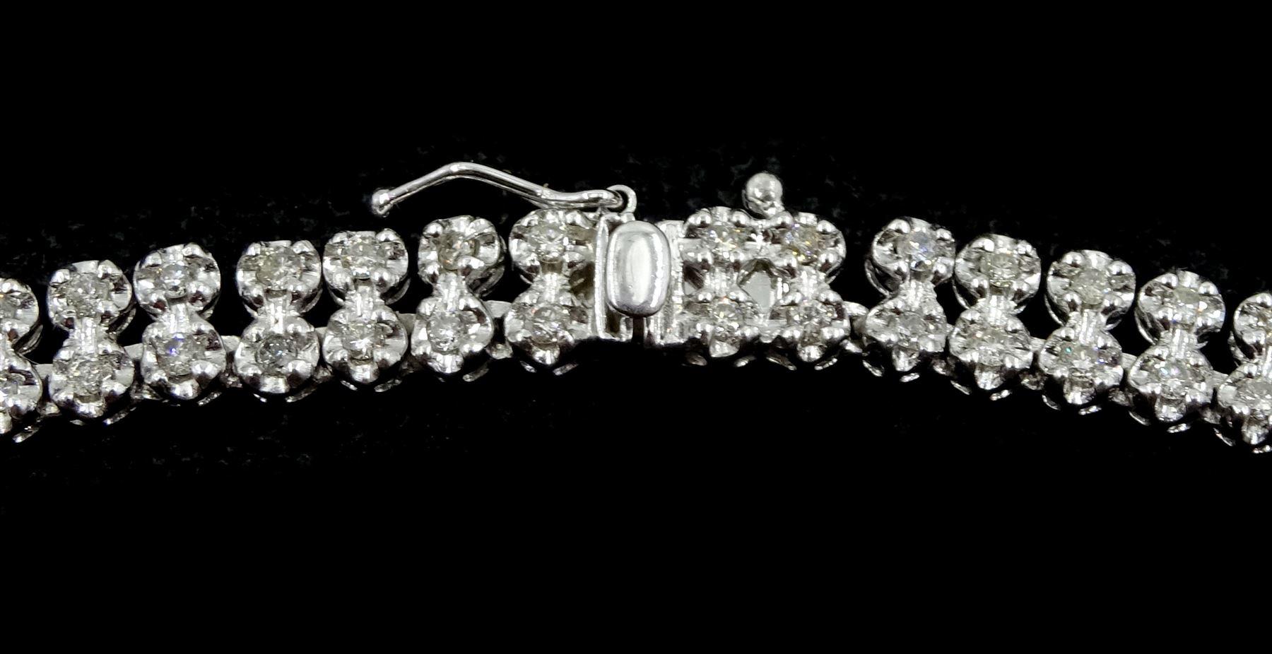 Platinum double row round brilliant cut diamond necklace - Image 3 of 3